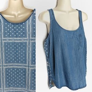 Life in Progress Denim Bandana Print Tank Sz M